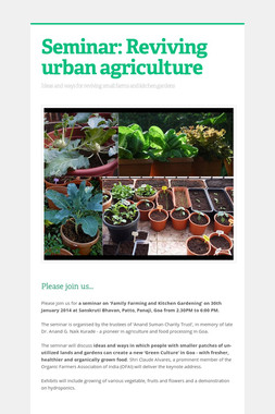 Seminar: Reviving urban agriculture