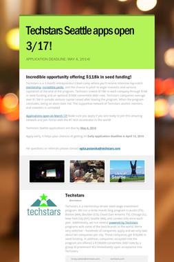 Techstars Seattle apps open 3/17!