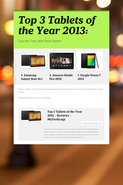 Top 3 Tablets of the Year 2013: