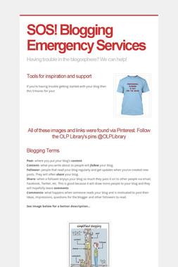 SOS!  Blogging Emergency Services