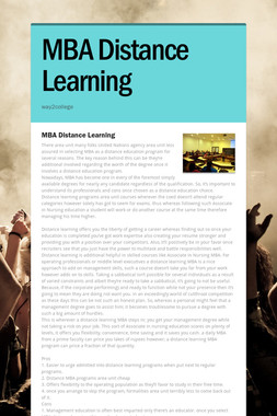 MBA Distance Learning