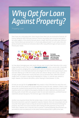 Why Opt for Loan Against Property?