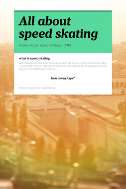 All about speed skating