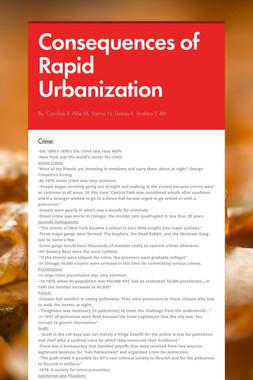 Consequences of Rapid Urbanization