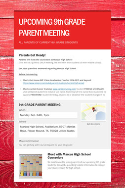 UPCOMING 9th GRADE PARENT MEETING