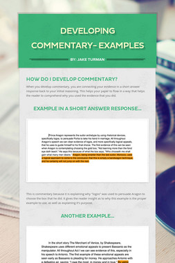 Developing Commentary- Examples