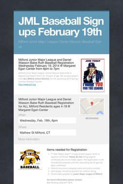 JML Baseball Sign ups February 19th