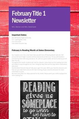 February Title 1 Newsletter
