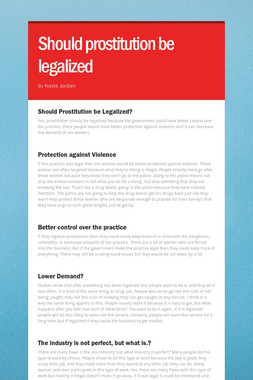 Should prostitution be legalized