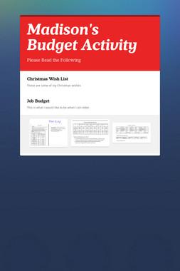 Madison's Budget Activity