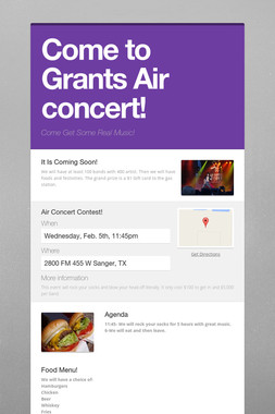 Come to Grants Air concert!