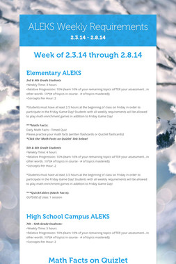 ALEKS Weekly Requirements