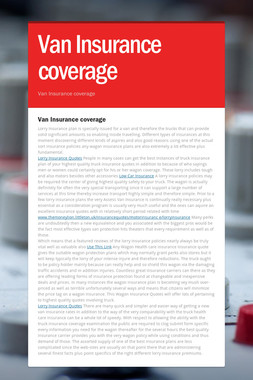 Van Insurance coverage
