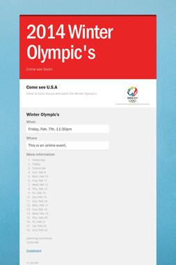 2014  Winter Olympic's