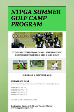 NTPGA SUMMER GOLF CAMP PROGRAM