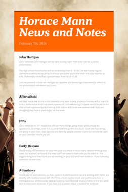 Horace Mann News and Notes