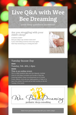 Live Q&A with Wee Bee Dreaming