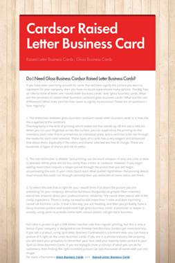 Cardsor Raised Letter Business Card