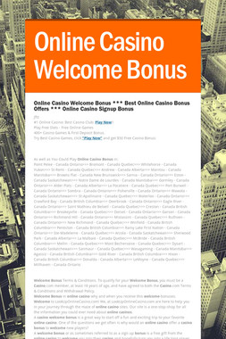 Online Casino Welcome Bonus