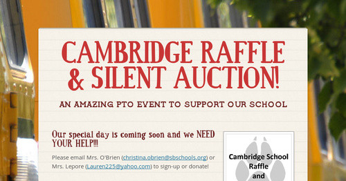 CAMBRIDGE RAFFLE & SILENT AUCTION!