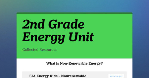 2nd Grade Energy Unit