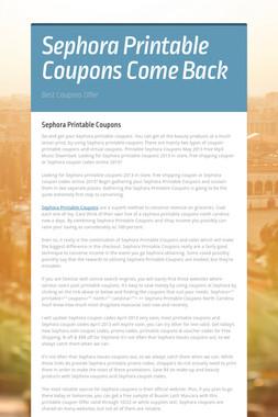 Sephora Printable Coupons Come Back