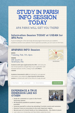 STUDY IN PARIS! INFO SESSION TODAY