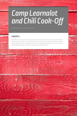 Camp Learnalot and Chili Cook-Off