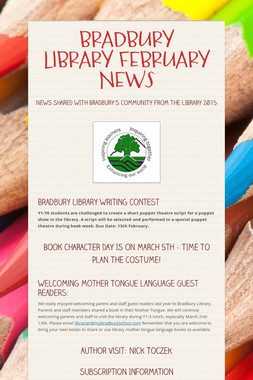 BRADBURY LIBRARY FEBRUARY NEWS