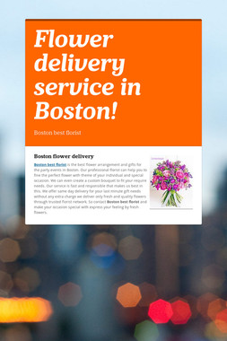 Flower delivery service in Boston!
