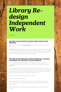 Library Re-design Independent Work