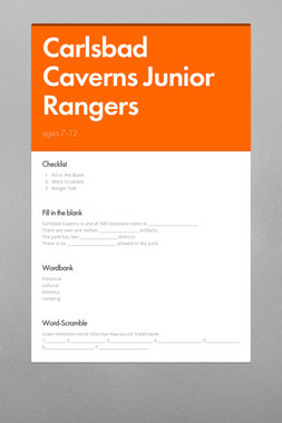 Carlsbad Caverns Junior Rangers