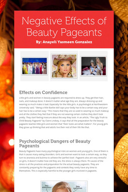 Negative Effects of Beauty Pageants