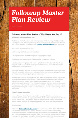 Followup Master Plan Review