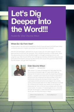 Let's Dig Deeper Into the Word!!!