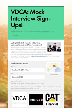 VDCA:  Mock Interview Sign-Ups!