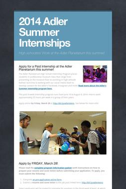 2014 Adler Summer Internships
