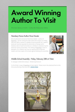 Award Winning Author To Visit