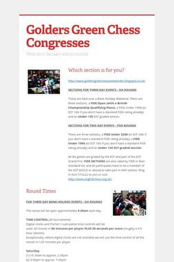 Golders Green Chess Congresses