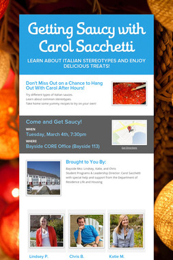 Getting Saucy with Carol Sacchetti