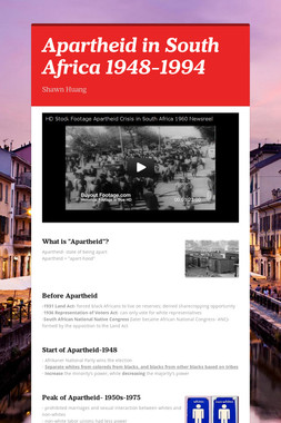 Apartheid in South Africa 1948-1994