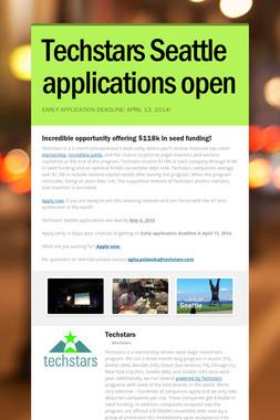 Techstars Seattle applications open