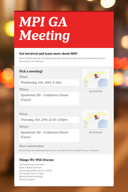 MPI GA Meeting