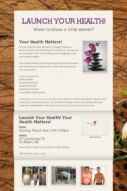 LAUNCH YOUR HEALTH!