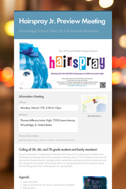 Hairspray Jr. Preview Meeting
