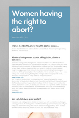 Women having the right to abort?