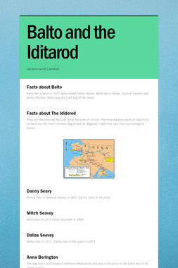 Balto and the Iditarod