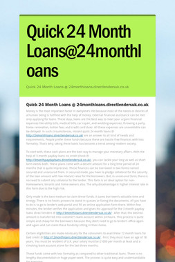 Quick 24 Month Loans@24monthloans