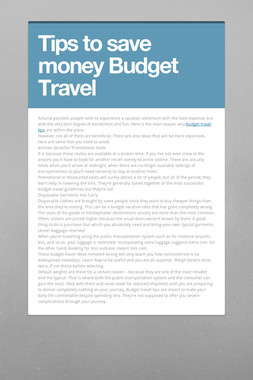 Tips to save  money Budget Travel