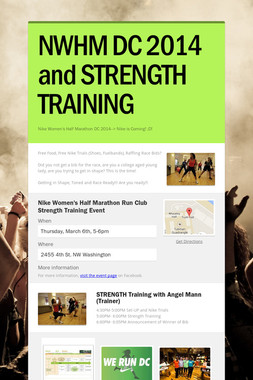 NWHM DC 2014 and STRENGTH TRAINING